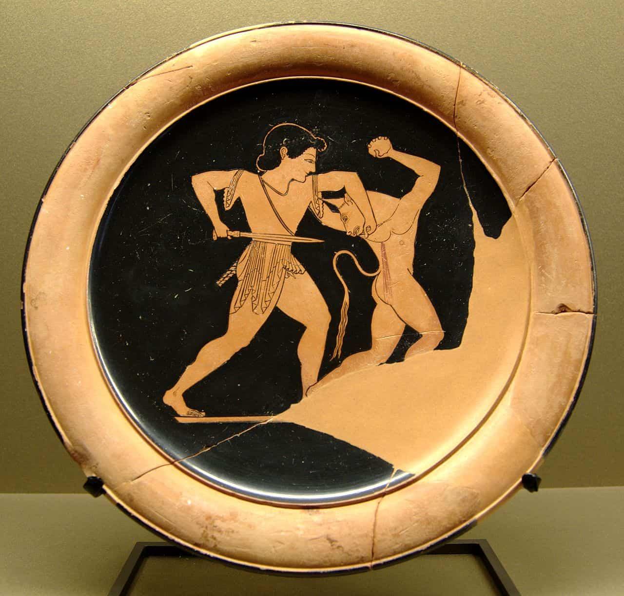 Tezeusz i Minotaur styl czerwonofigurowy